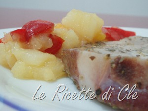 braciole di maiale con mele - pork steak with apple