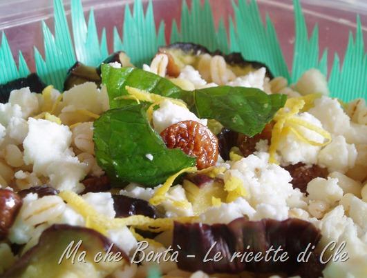 insalata di grano feta e melanzane