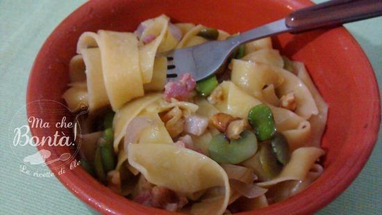 pappardelle fave noci pancetta