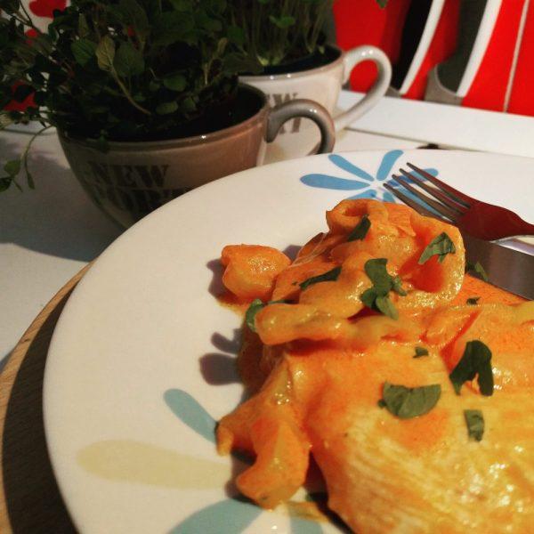 pollo cremoso ai peperoni