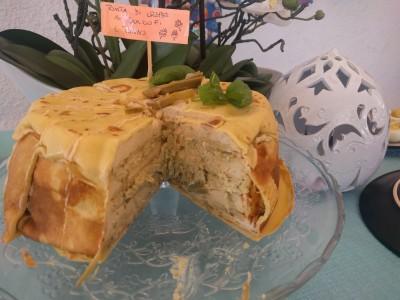 torta di crepes carciofi e tonno